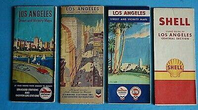 Lot of 4 Vintage Los Angeles Oil Co Road Maps - Chevron / Shell / Stamdard Oil
