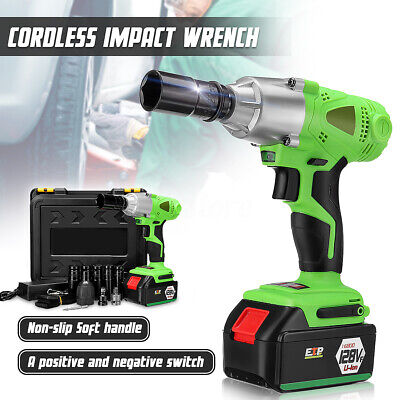 16800mAh 1/2'' Electric Cordless Impact Wrench Drill High Torque Tool Kit 128VF