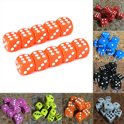 16mm 10PCS/Set Dice Opaque Standard D6 Six Sided Acrylic For RPG Gaming 9 Colors