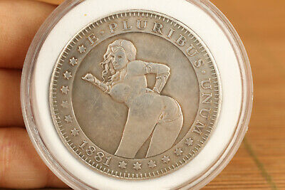 Chinese tibet silver copper hand carving belle girl art collectable coin