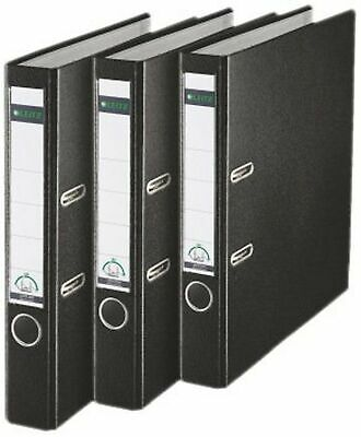 Leitz Lever Arch File, Black, Plastic, A4, 50 mm spine, Pack 3, 310345195