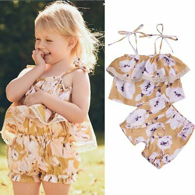 2Pcs Toddler Kids Baby Girls Summer Clothes T-shirt Tank Tops+Pants Outfits Set