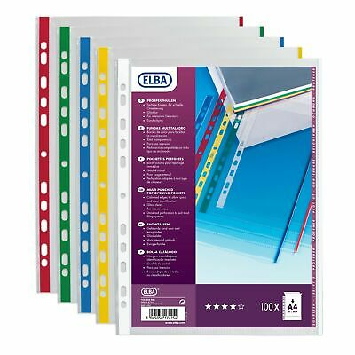 Elba 100206880 Punched Pockets A4 Polypropylene 9/100 Assorted Colours - Pack...