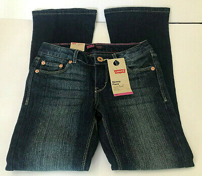 3ec4fdce Levis Girls Jeans Size 7 Regular Skinny Flare Adjustable Waist Stretch Denim  NWT