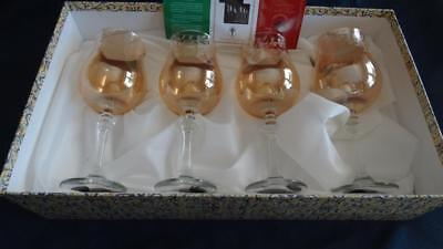 Cristalleria Fratelli Fumo Wine Glasses Set of 4 Amber White Vines Italian NIB