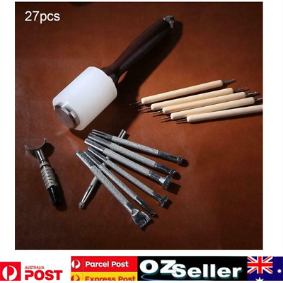 27Pcs Leather Carving Craft Kit Embossing Tools Manual Stamp Beveler Hammer Set