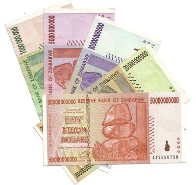 Zimbabwe 1 to 50 Billion Dollars Banknotes Set of 5, Circulated , XF (Zmsp5)