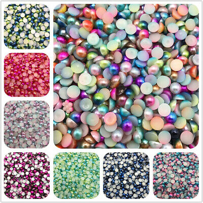 3/4/5/6/8mm Flat Imitation Pearls Half Round Pearl Bead Flat Back Scrapbook