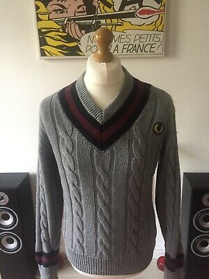 47a90c5b Fred Perry Cable Knitted Cricket / Tennis V Neck Jumper Medium Mod Ska Ivy  Prep