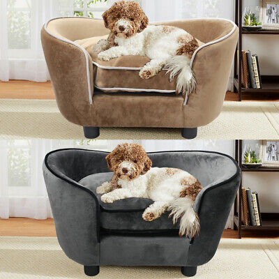 Upholstered Pet Sofa Chair Dog Puppy Cat Lounger Warm Cushion Couch Bed House UK