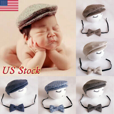 5db2d28b Cute Baby Newborn Peaked Beanie Cap Hat+Bow Tie Photo Photography Prop  Outfit US