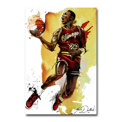Michael Jordan MVP Fly Dunking Basketball Silk Poster Canvas Art 24x36 inch