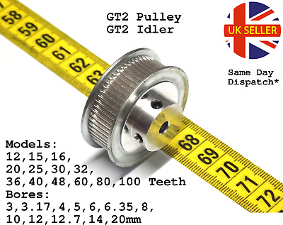 GT2 Pulley Timing Smooth 6mm Tooth Idler 12 15 16 20 30 36 40 60 80 100 all Bore