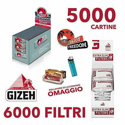 5000 CARTINE ENJOY FREEDOM SILVER CORTE e 6000 FILTRI GIZEH EXTRASLIM 5,3 mm