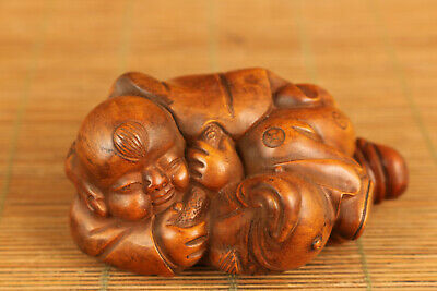 rare chinese old boxwood hand carved baby hug fish statue netsuke collectsble