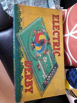 Derby Horse racing game electric needs some repair but working antique .