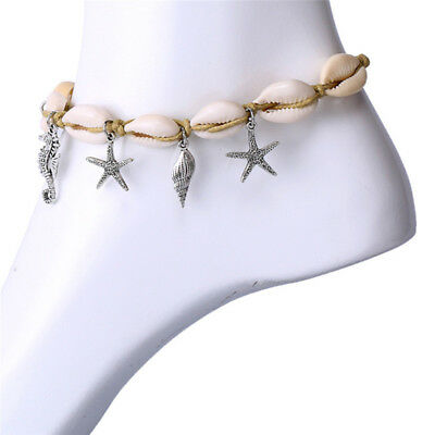 Boho Starfish Shell Anklet Ankle Sea Barefoot Sandal Beads Beach Foot Jewelry UW