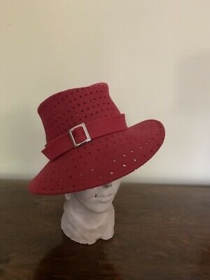 166a5aa52f757 Whiteleys Unique Fedora Hat Wine Deep Red Buckle Ascot Wedding 1940s 1970s  Style