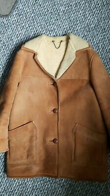 Vintage Brown Real Sheepskin Chevignon Style Wool Lined Jacket size L