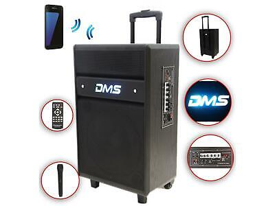 Karaoke Anlage mobile PA Lautsprecherbox Trolley S USB SD MP3 Wireless LED DMS®