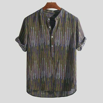 Men Ethnic Printed Stand Collar Colorful Stripe Short Sleeve Loose Henley Shirt