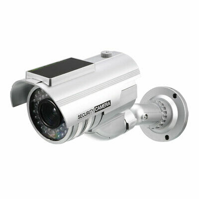 Fake Security Camera Solar Powered Dummy CCTV with Red LED Light, Sticker Silver