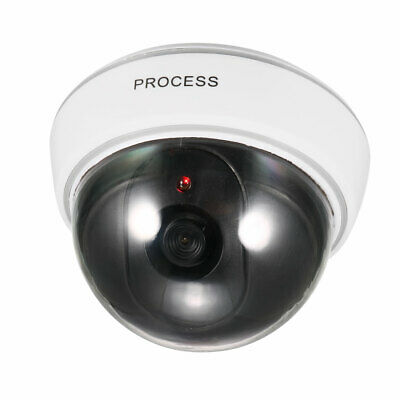 Fake Security Camera Dummy Dome CCTV with Blinking Red LED Light White