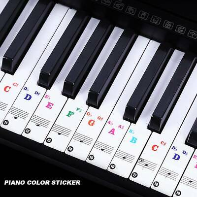 Colorful Music Keyboard Piano Stickers For 49, 61 ,37or 88-KEY Piano Removable