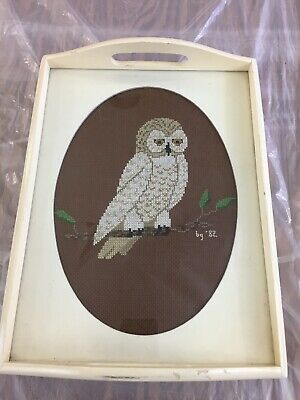 """VINTAGE 1982 Owl CROSS STICH WOOD SERVING TRAY Handles 12.5"""" x 9.25"""" Distressed"""