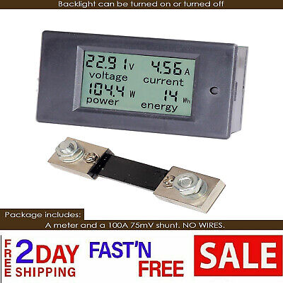 DC 6.5-100V 0-100A LCD Display Digital Current Voltage Power Energy Meter Shunt