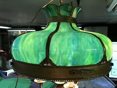 Antique Art & Crafts Green Curved Slag Glass Hanging Light Chandelier