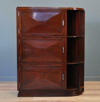 Attractive Art Deco Vintage Mahogany Floor Bookcase With Shelves and Cupboards