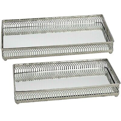 Set of 2 RECTANGULAR MIRRORED TRAYS silver finish serving cocktail display trays