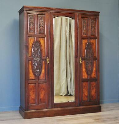 Large Antique Victorian Carved & Burr Walnut Mirror Door Triple Wardrobe