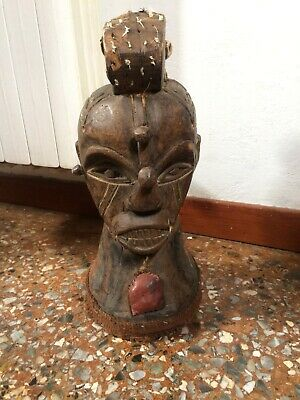 Vintage XX AFRICAN FETISH Head Figure Hand Carved Wood Ethnic Tribal Ceremonial