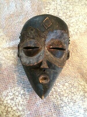 Vintage XX AFRICAN MASK DAGANI ZAIRE Hand Carved Wood Ethnic Tribal Ceremonial