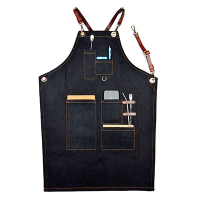 Boshiho Waxed Canvas Apron, Jean Work Apron Heavy Duty Work Apron with Function