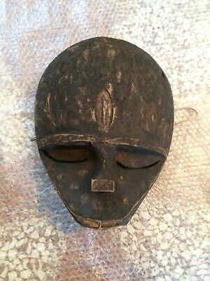 Vintage XX AFRICAN MASK CONGO Hand Carved Wood Ethnic Tribal Ceremonial Antique