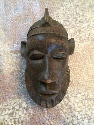 Vintage XX AFRICAN MASK Equatorial Hand Carved Wood Ethnic Tribal Ceremonial
