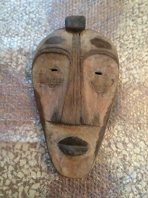 Vintage XX AFRICAN MASK GUINEA Hand Carved Wood Ethnic Tribal Ceremonial Antique
