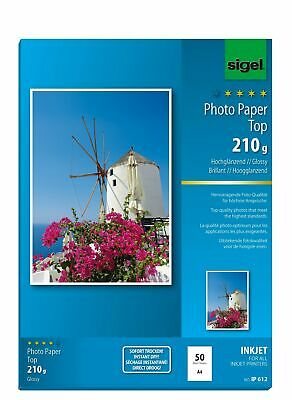 Sigel IP612 InkJet Top Photo Paper, glossy, bright white, 210 gsm, A4, 50 she...