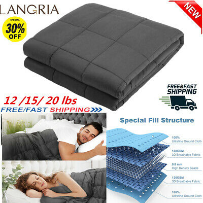 20lbs Weighted Blanket Gravity Blankets Sensory Sleep Reduce Anxiety Soft Cotton