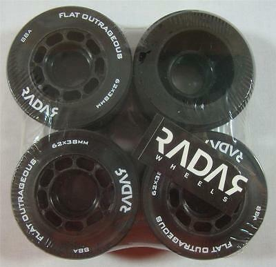 4 New Riedell Radar Flat Outrageou 62mm x43mm Black 88A Roller Derdy Skate Wheel
