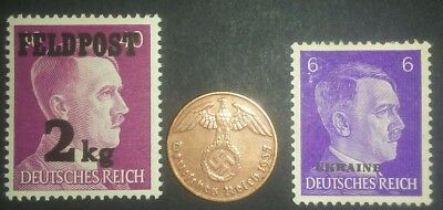 Travelstamps:1937 German Stamps WW2 NAZI 1 Reichspfennig Coin w/ Hitler Stamps