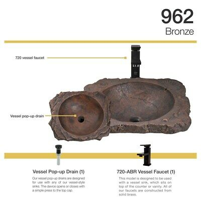 962 Bronze Drop-In Sink with Faucet and Pop-Up Drain in Antique Bronze