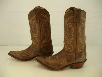 f7bf6dedff Womens 9 B M Abilene Brown Leather Cowboy Western Boots Embroidered Snip  Toe Vtg