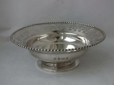Art Deco Pierced Rim Solid Sterling Silver Bowl 1937/ Dia 13.5 cm/ 104 g