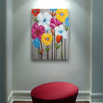 Framed Modern Oil Painting Wall Art Home Decor Handmade Canvas Colorful Flower