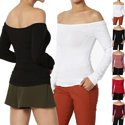 TheMogan Off The Shoulder Stretch Cotton Jersey Top Long Sleeve Sexy T-Shirt Tee