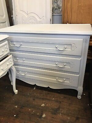 Large French Louis Vintage Shabby Chic Painted In Pale Grey Wax Chest Of Drawers